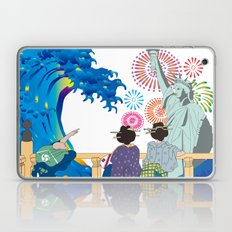 Hokusai People Seeing Big Wave,  Statue of Liberty & Fireworks Laptop & iPad Skin