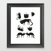 Little cats in colourful hats Framed Art Print