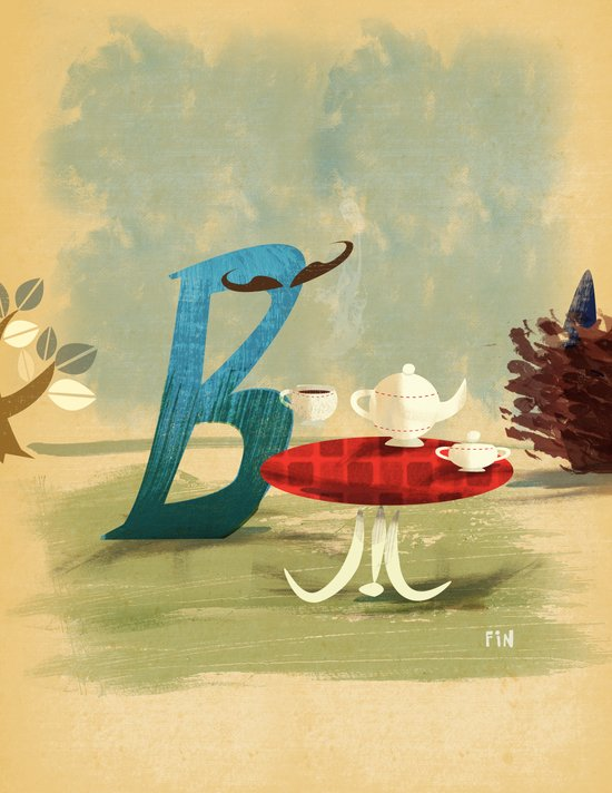 Time for Tea with Letter B Canvas Print