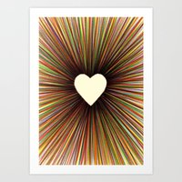 heart radiant color Art Print