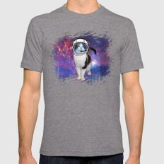 Space cat Mens Fitted Tee Tri-Grey SMALL
