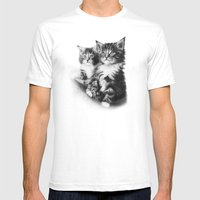 Double Dose of  Kittens Mens Fitted Tee White SMALL