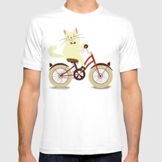 White cat on a bicycle Mens Fitted Tee White SMALL