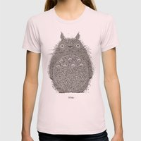 Yellow Totoro Womens Fitted Tee Light Pink SMALL