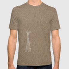 Seattle by Friztin Mens Fitted Tee Tri-Coffee SMALL
