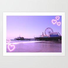 Santa Monica Pier Purple Hearts Art Print