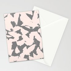 Pastel Pink Bird Wings on Grey Stationery Cards