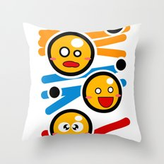 happy smiley trio Throw Pillow
