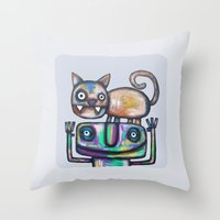 Juggler With Cat Throw Pillow