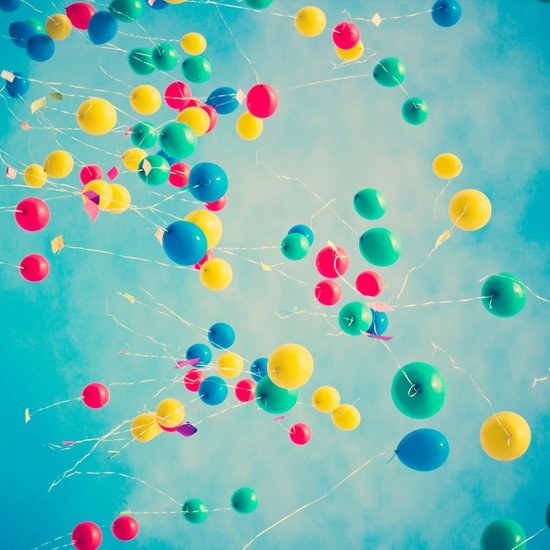 Polka Dots (Colorful happy balloons in flight) Art Print