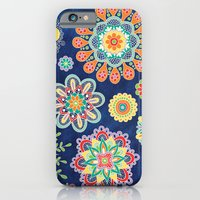iPhone & iPod Case featuring Folky Flora-blue by Groovity