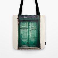 Green old door Tote Bag
