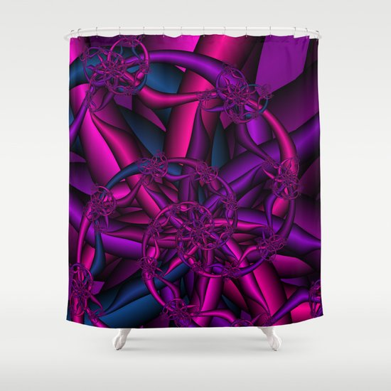 Pink Purple and Blue Shower Curtain