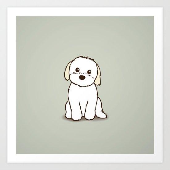 Shih Tzu And Maltese Mix Puppy Illustration Art Print By