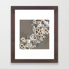 Diagonal flower – brown and olive green fiber Framed Art Print