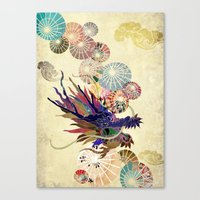 Dragon With Unbrellas Canvas Print