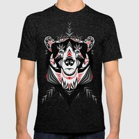 American Indian bear Mens Fitted Tee Tri-Black SMALL