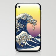 iPhone & iPod Skin featuring The Great Wave Of  Cat by Huebucket