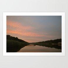 Evening Falls on the River Art Print