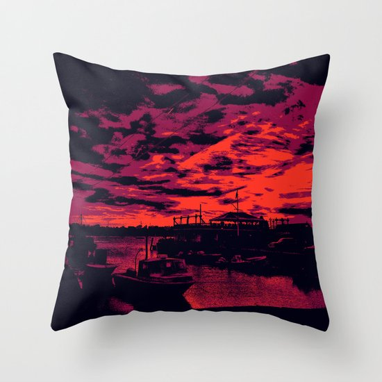 Sunset Over Bristol Harbor 2 Throw Pillow