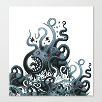Octoworm (blue Version) Canvas Print