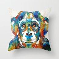 Colorful Chimp Art - Mon… Throw Pillow