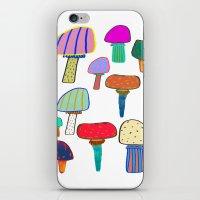 Mushrooms, mushroom print, mushroom art, illustration, design, pattern,  iPhone & iPod Skin