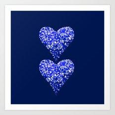 sparkling hearts blues Art Print
