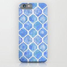 Cornflower Blue Moroccan Hand Painted Watercolor Pattern iPhone 6 Slim Case