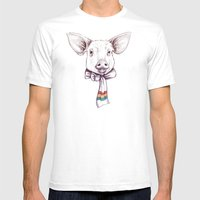 Pig And Scarf Mens Fitted Tee White SMALL