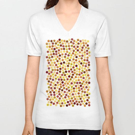 Watercolor Dots_Amber V-neck T-shirt