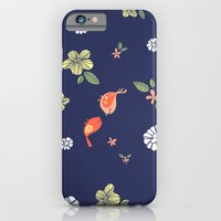 Floral with Birds on blue iPhone 6 Slim Case