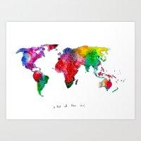 World Map - RAINBOW Art Print