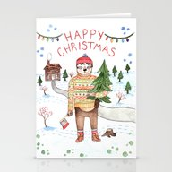 Sloth Christmas Stationery Cards
