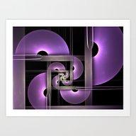 Purple Semicircles Fract… Art Print