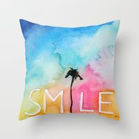 Palm Tree Smile IN Water… Throw Pillow