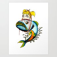 Fish with Girl Hat Art Print