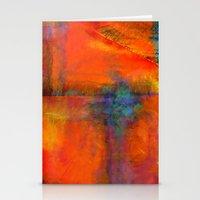 Orange - Abstract Digita… Stationery Cards