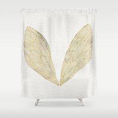 Cicada Wings in Gold Shower Curtain