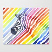 Zebra Rainbow Stripes Camouflage Canvas Print