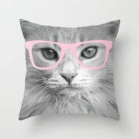 Hippest Cat 2 - Pink glasses Throw Pillow