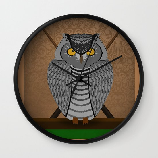 owl playing billiards Wall Clock