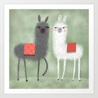 LAMAS WITH RED BLANKETS Art Print