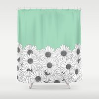 Daisy Boarder Mint Shower Curtain