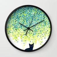 Cat In The Garden Under … Wall Clock