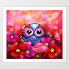 Owl in Poppy Field Art Print
