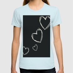 Love Hearts  Womens Fitted Tee Light Blue SMALL