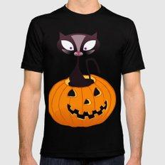 BOOOO -  Halloween Pumpkin Cat Mens Fitted Tee Black SMALL