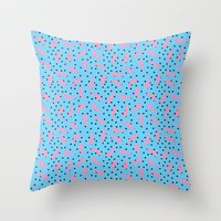 Pink Banana Peel on Baby Blue /// www.pencilmeinstationery.com Throw Pillow