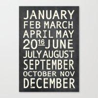 Vintage Metro 2016 Calendar - Chalkdust Canvas Print